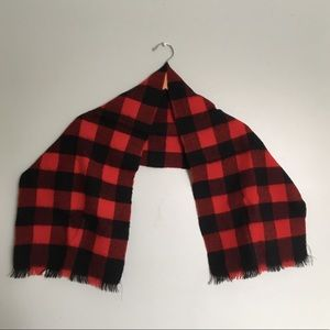 Buffalo Plaid Red & Black Winter Scarf Wool Blend